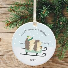 1st Christmas as a Brother Ceramic Xmas Tree Decoration - Hedgehog and Sledge Design